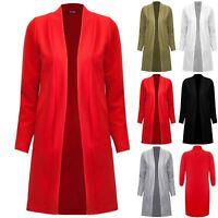Plus Size Womens Ladies Longsleeve Open Front Longline Pockets Coat Cardigan Top
