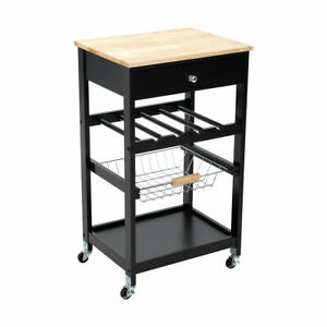 New Kitchen Storage Trolley Island Bench with Wheels Portable Workbench Shelf M1