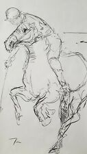 JOSE TRUJILLO HUGE Expressive CHARCOAL DRAWING ORIGINAL Figurative Polo Horse 3