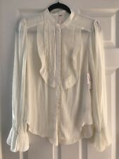 $118 FREE PEOPLE Ivory White Button Down SHIRT Top