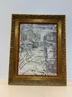 Vintage Snowy Town Winter Scene Oil Painting on Board Framed Signed C. Power