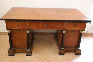 Schreibtisch mit Säulen Biedermeier Stil Kirschbaum um 1900