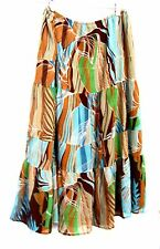 Versailles Brown, Blue & Green Tiered Skirt Size Large