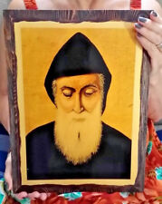 XL Handmade Saint Charbel Makhlouf Maronite monk, Lebanon wood icon 26x35cm