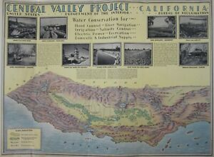 Vintage California Map Central Valley Water Project Shasta Dam Friant Canal 1940