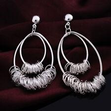 Women Fashion 925 Sterling Silver Plated Chandelier Dangle Hoop Stud Earrings
