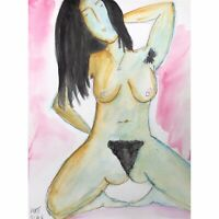 Matt Scalf Nude Woman ORIGINAL PAINTING Hairy Armpits Hippie Watercolor 9x12