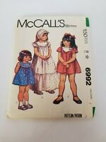 McCalls #6992 Vintage 1980 Childs Girl Dresses Patterns  Printed in USA