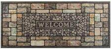 Pebble Door Mat Welcome Sign Outdoor Recycled Rubber Rug 20x47 Heavy Duty House