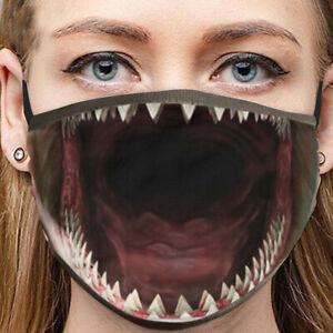 3D respirant drôle visage bouche Masque de protection réutilisable lavable