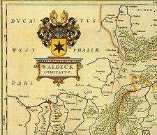 Hist Landkarte Waldeck Korbach Brilon Fritzlar Altenbüren Altenfeld Eslohe 1658
