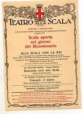 TEATRO  ALLA   SCALA  LOCANDINA   BICENTENARIO   3  AGOSTO  1978  CON  LA  RAI