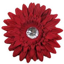 12 Burgundy Gerber Daisy Flower Clips