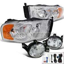 2002-2005 Dodge Ram Crystal Headlights Chrome+Bumper Fog Lamps Clear