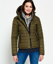 New Womens Superdry Hooded Box Quilt Fuji Jacket Khaki