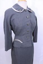Vintage 1950s 50s Gray Wool Velvet Trim Half Moon Pockets Skirt Blazer Suit M