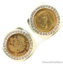 Russian 5 Rubles Gold Cufflinks With Diamonds 22.7 Grams