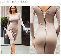 High-elastic Long Sleeve Skirt Back Metal Zipper Tight-fitting Mini Short Dress