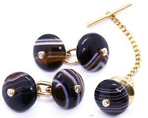 SCOTTISH AGATE & DIAMONDS 18 KT YELLOW GOLD PAIR OF CUFFLINKS AND TIE PIN