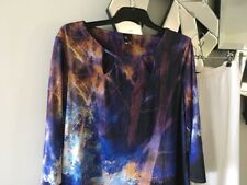 R ROCKMANS Blue Purple Taupe 3/4 Sleeve Stretch Tunic Top Blouse M 12 14