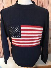 New listing Men's Sz L Stars And Stripes Crewneck Sweater Blue American Flag~Usa Made