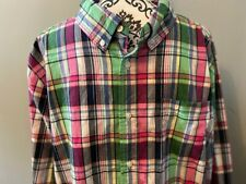*NWT* GYMBOREE Dressed-Up Men's Plaid Navy Pink Green Button-Up Shirt, L Large