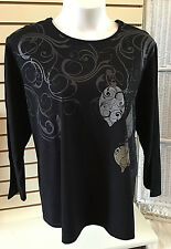 Liz & Me Black Holiday Christmas Embellished L/S Tee Top Plus Size 4X 30 32W