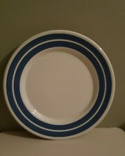 Staffordshire Potteries Ltd Blue and White Striped Small Dinner Plate