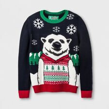 Boys' Ugly Christmas Sweater Deep Night Navy Blue Polar Bear Pullover, Size 4/5