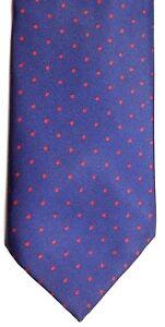 "Cheshire Row Men's Poly/Silk Tie 55"" X 3.25"" Navy w/ tiny red Polka Dots"
