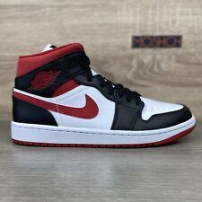 Nike Air Jordan 1 Mid Gym Red UK 8 US 9 White Black Blanc Leather IN HAND