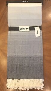 "DKNY ""Plaza Stripe"" 50"" x 60"" Soft Throw Blanket with Fringe - Indigo"