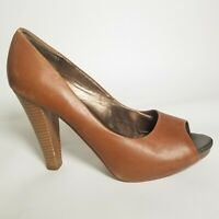 Ann Taylor Loft High Heels Shoes Pumps Size 8.5 Open Toe Brown Leather Stacked