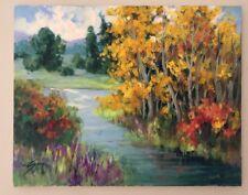 """EVA SZORC Landscape Painting Original Oil On Canvas 20"""" x 16"""" River"""