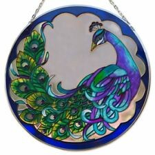 """Peacock Art Glass SuncatcherHand Painted Stained Glass Look Design  9-7/8"""" New!"""