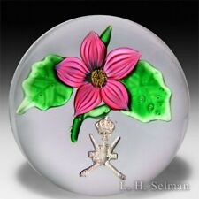 Saint Louis pink flower and Sultan of Oman coat of arms glass paperweight