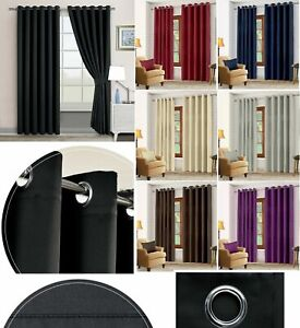 HOTEL QUALITY THERMAL BLACKOUT CURTAINS EYELET READY MADE RING TOP CURTAIN PAIR