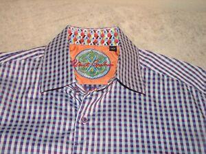 Robert Graham Men 100% Cotton Purple Checks Shirt XL / India