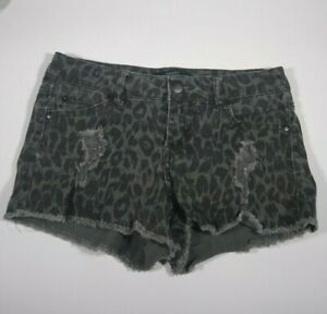Forever 21 Animal Leopard Print Cutoff Gray Black Denim Shorts Size 25