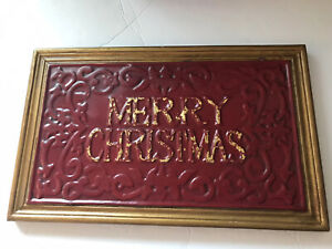 Merry Christmas Sign Wood Vintage Maroon/Gold Heavy Embroidery Letters Rustic