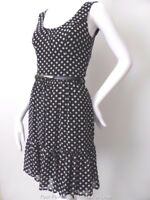 REVIEW Sleeveless Polka Dot Shift Dress with Belt Size 6 US 2   rrp $259.95