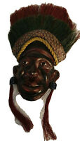 Small Leather Native Face with Headdress Plaque Signed Catia Sardou 8""