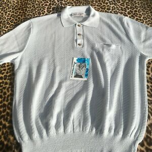 FRENCH 1960s MEN POLO SHIRT ~BLUE TEXTURED BANLON KNIT~ MADE IN FRANCE ~MINT~ XL