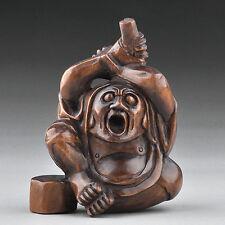 "1940's Japanese handmade Boxwood Netsuke ""Daruma"" Figurine Carving"