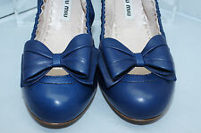 New Miu Miu Blue Ballet Flats Shoes Size 39.5 Calzature Donna Leather