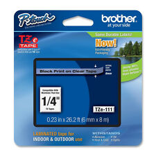 """Brother TZe111 6mm 1/4"""" black on clear P-touch label tape PT D450 2030 1400 1090"""