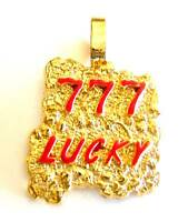 777 LUCKY Yellow Gold Plated Nugget Pendant Charm For Necklace Chain Red Enamel