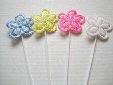 """Floral Picks Pk/12 FLOWERS Glittered Card Holders Assorted Colors 11"""" NEW!"""