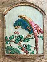 "Vintage Chalkware PARROT Wall Plaque Decor Art 18 3/4"" by 14"" Bird on Branch"
