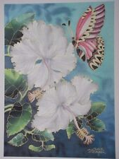 New Malaysian White Orchid & Pink Butterfly SILK signed BATIK PAINTING unframed